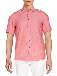 Report Collection Linen And Cotton Short Sleeve Shirt Red