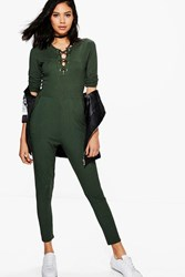 Boohoo Lace Up Front Casual Jumpsuit Khaki