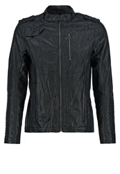 Tom Tailor Denim Faux Leather Jacket Smooth Black Dark Gray