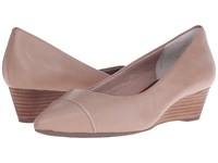 Rockport Total Motion Annett Cap Toe Wedge Warm Taupe Brown Calf Lizard Women's Wedge Shoes