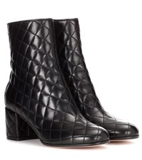 Gianvito Rossi Margaux Driver Leather Ankle Boots Black