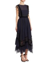 Alberta Ferretti Silk Lace Dress Dark Blue