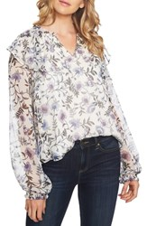 Cece Bloomsbury Floral Chiffon Ruffle Blouse Antique White
