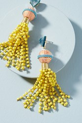 Anthropologie Sunshower Beaded Drop Earrings Yellow Motif
