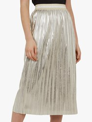 Ted Baker Ariana Metallic Pleated Midi Skirt Light Grey