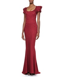 Zac Posen Short Sleeve Scoop Neck Gown Burgundy Reptile