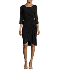 T Tahari Robyn Wrap Front Dress Black
