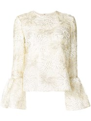 Huishan Zhang Silvie Floral Embroidery Blouse White