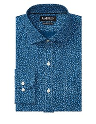 Lauren Ralph Lauren Slim Fit Floral Printed Dress Shirt Blue