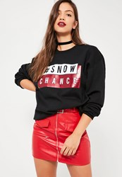 Missguided Black Snow Chance Christmas Sweatshirt