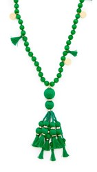 Kate Spade New York Pretty Poms Tassel Pendant Necklace Green