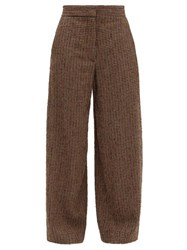 Raey Elasticated Back Wide Leg Textured Tweed Trousers Brown Multi