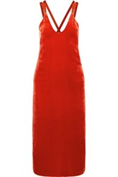 Dion Lee Grosgrain Trimmed Velvet Midi Dress Red