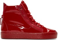 Giuseppe Zanotti Red Patent London High Top Sneakers