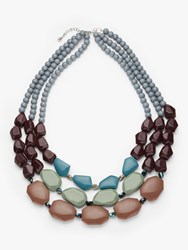 One Button Triple Row Beaded Necklace Multi
