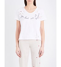 Sundry Bonjour Embroidered Cotton Jersey T Shirt White