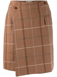 Acne Studios Checked Wrap Mini Skirt Brown