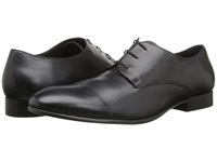 Fitzwell Plain Black Tequila Leather Men's Dress Flat Shoes