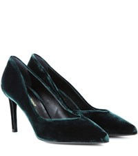 Saint Laurent Paris 80 Velvet Pumps Green