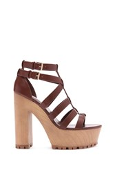 Forever 21 Faux Leather Sandals Brown
