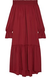 Theory Off The Shoulder Smocked Silk Jersey Midi Dress Claret