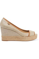 Tory Burch Majorca Leather Trimmed Metallic Canvas Wedge Sandals Beige