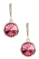 Candela Rose Swarovski Crystal Embellished Dangle Earrings Pink
