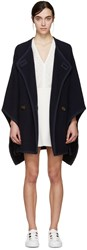 See By Chloe Navy Wool Cape Coat