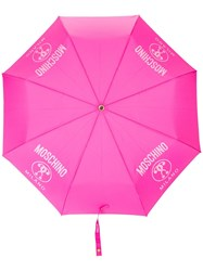 Moschino Logo Print Foldable Umbrella Pink