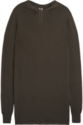 Rick Owens Textured Knit Cashmere Hooded Sweater Dark Brown
