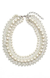 Women's Cristabelle Crystal And Faux Pearl Multristrand Necklace