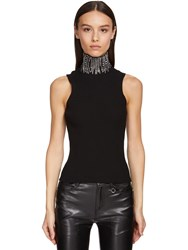 Ermanno Scervino Sleeveless Viscose Knit Top W Crystals Black