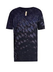 Raquel Allegra Tie Dye Cotton Blend Jersey T Shirt Navy Multi