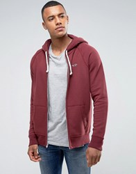 Hollister Zip Through Hoodie Regular Fit Seagull Logo In Burgundy Marl Red