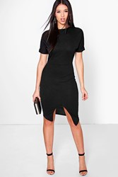 Boohoo Crepe Wrap Skirt Detail Fitted Dress Black
