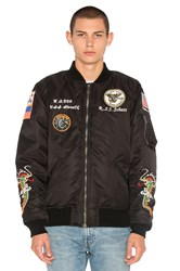 Schott Nylon Ma 1 Flight Souvenir Jacket Black