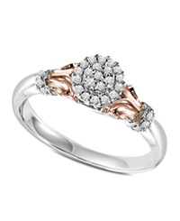 Macy's Round Cut Diamond Engagement Ring In 10K Rose Gold And Sterling Silver 1 6 Ct. T.W.