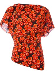 Lanvin Floral Print Top Red