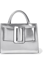 Boyy Bobby 23 Small Buckled Metallic Leather Tote Silver