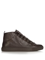 Balenciaga Arena High Top Grained Leather Trainers Brown