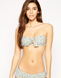 South Beach Ditsy Print Bandeau Bikini Top With Tie Detail Ditsyfloral