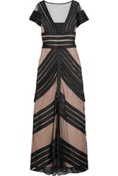 Temperley London Paneled Mesh And Satin Gown Black