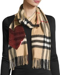 Burberry Sequin Heart Check Cashmere Scarf Camel Red Brown Red