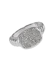 Effy Balissima Pave Diamond And Sterling Silver Ring White Gold
