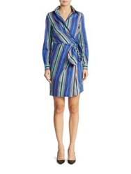 Moschino Long Sleeve Shirt Dress Blue Stripe
