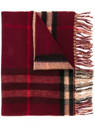 Burberry Classic Check Cashmere Scarf Men Cashmere One Size Red