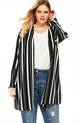Evans Plus Size Variegated Stripe Kimono Jacket Multi Dark