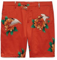 Paul Smith Printed Cotton Blend Satin Shorts Red