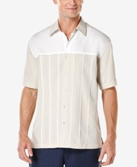 Cubavera Men's Colorblocked Button Front Short Sleeve Shirt Moonbeam