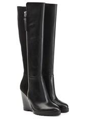 Michael Michael Kors Leather And Suede Knee Boots Black